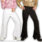 Adult Men's 1970's Disco Groove Black White Fancy Dress Flared Trousers PS