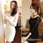 Sexy Women Scoop Neck Long Sleeve Floral Lace Stretch Cocktail Casual Mini Dress