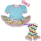 Baby Easter Blue Polka Dots Pink Chevron Tutu Romper Leg Warmers Party Dress Set