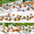 10pc Crystal Rhinestone Spacer Loose Beads Flower Gold Plated Fit Charm Bracelet
