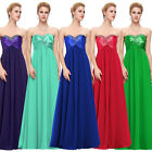 2015 STOCK Long Chiffon Party Gown Evening Prom Bridesmaid Dress UK 6 8 10 12++