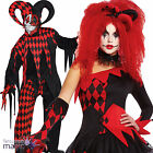 Ladies Harlequin Circus Clown Jester Tricksterina Fancy Dress Halloween Costume