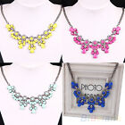Women Stylish Vintage Flower Crystal Bib Choker Statement Necklace 4 Colors BD8U