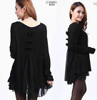Ladys cocktail long sleeves knit wool loose tops dress 5 colors plus size 10-24