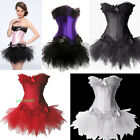 5 Color Swan Costume Lace UP Corset Overbust Basque Tutu / Mini Skirt Set AF107