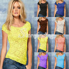 Fashion Women's Sexy Lace Flowers Casual Shirt Short Sleeve Cami Tank Tops
