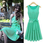 2014 Womens Mint Green Chiffon BOHO Pleated Skirt Skater Sleeveless Summer Dress