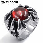 Men's Heavy Dragon Claw  316L Stainless Steel Ruby Red Cubic Zirconia Biker Ring