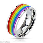 MENS WOMENS STAINLESS STEEL SILVER RAINBOW RUBBER STRIPED PRIDE BAND RING 8MM