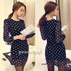 Stylish Women O-Neck Long Sleeve Polka Dot Sheer Casual Tulle Patchwork Dress