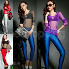 Fashion Women Girl Sexy Sheer Tops Slim T-shirt Casual Gauze Long Sleeve Blouse