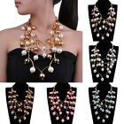 Fashion Gold Chain Colorful Cluster Pearl Bead Statement Pendant Collar Necklace