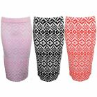 Women's Pastel Florescent Graphic Aztec Pencil Bodycon Stretch Tube Jersey Skirt