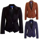 Women's Office Smart One Button Padded Ladies Fitted Coat Blazer Jacket 8-14