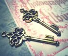Antiqued Gold Skeleton Keys Charms Pendants 45mm Ornate Trinity Keys WHOLESALE