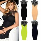 Women's Celeb Kim Sleeveless Party Pencil Crochet Neck Ladies Bodycon Dress