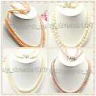 Natural 7-8mm 2 rows Freshwater pearl necklace bracelet Sets New Jewelry Gift