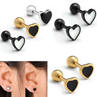 Pair Stainless Steel Heart Curved Barbell Cartilage Ear Plugs Studs Earring Gift