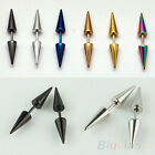 UNISEX MENS WOMENS PUNK RIVET EAR STUDS SPIKE STAINLESS STEEL CONE EARRINGS BD2K