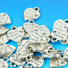 """50pcs Silver/Gold Plated Heart Charms 0.35"""" Pendants Jewelry Making Beads DIY B2"""