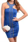 Above knee mini sleeveless royal dress beaded neckline and middle Clubwear S,M,L
