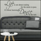 LARGE WALL STICKER QUOTE LIFE ABOUT WAITING STORM PASS UK DESPATCHED SAME DAY