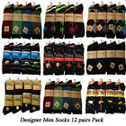12 Pairs Of Designer  Mens  Socks,Cotton Rich  Poly Cotton Size 6-11New
