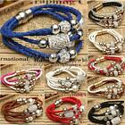 Fashion Multi Layers Bracelet Magnetic Bead Crystal Buckle Leather Wrap Bangle