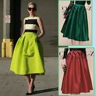 Women New Retro High Waist Elastic Flared Pleated Long Full Skirt 4 Solid Color