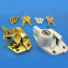 QUALITY LOCKING WINDOW SASH FASTENER WHITE/BRASS Turn Latch/Catch Frame Fixing
