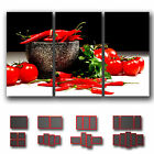 ' Spice Spicy Chilli Pepper Resturant Deco ' Canvas Kitchen Art Wall Box ~ 3 Pc