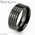 BOLD MENS SOLID TITANIUM BLACK IP TRIPLE GROOVED WEDDING BAND RING