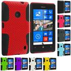 For Nokia Lumia 520 Hybrid Mesh Hard/Soft Silicone Color Case Cover Accessory