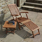 Garden Steamer Chair Sun Bed Lounger Sunlounger Seat With Side Table & Cushion