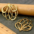 4 Solid Brass Vine Leaf Earing Charm 25mm Gold Sterling silver plated be16 PICK