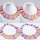 Multi-color shell strips beads graduated necklace 17""