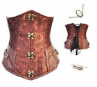 Coffee Lace up Back Full Steel Boned Steampunk Underbust Corset Party Top wear