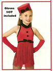 RED HOT Fringe Leotard & Hat Ice Skating Dance Costume Child X-Small Fits 2-3yr