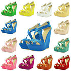 Womens Girls Patent Platform Peeptoe High Heels Wedge Shoes Sandals US Size 4-11