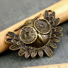 2 Large Plated Owl Bird Pendant 56x41mm a251 PICK