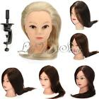 Pro Salon Mannequin Human Hair Hairdressing Practice Training Head Clamp + Comb