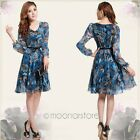 Elegant Womens OL Retro V-neck Floral Chiffon Ruffled Hem Slim Long Sleeve Dress