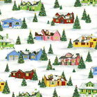 HOLIDAY VILLAGE HOUSES -  RETRO CHRISTMAS by MAKOWER 100% COTTON FABRIC VINTAGE