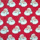 SANTAS RED - FATHER CHRISTMAS -  RETRO  by MAKOWER 100% COTTON FABRIC VINTAGE