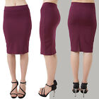 Knee length pencil skirt Wear to Work Solid Burgundy S, M, L