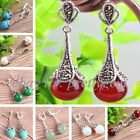 FASHION VINTAGE 12MM ROUND STONE CZ CRYSTAL WOMEN PARTY STUD DANGLE EARRINGS