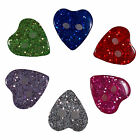 Colour Glitter Heart Shape Buttons - Colour and Size Choice