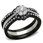 Stainless Steel Round Flower CZ Black 3 PC Wedding Promise Women's Ring Set