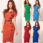 Casual Sexy Occident Womens Stylish Office Bodycon Short Sleeve Pencil Dress