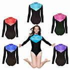 Gymnastics Leotard Velvet Lycra Long Sleeves Womens Girls Gym Dance Leotards...